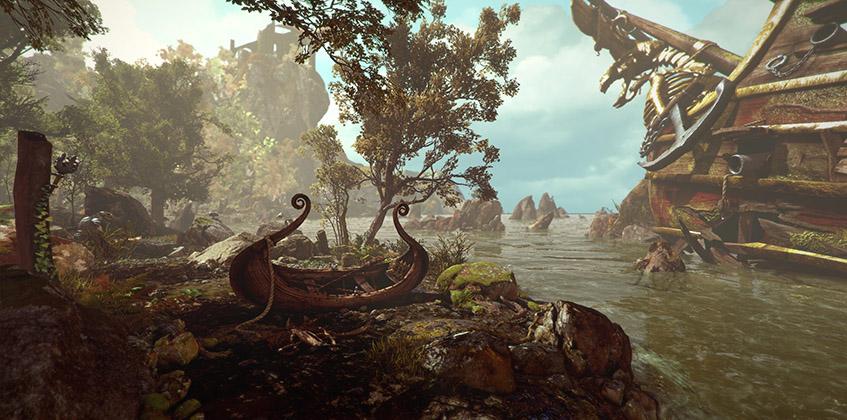 ghost, tale, shore, boat, ship, trees, rocks, water, ocean, keep, ruins