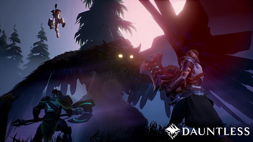 Dauntless, closed, beta, shrike, wings, hammer, slayer, axe, sward, glow, eyes, trees