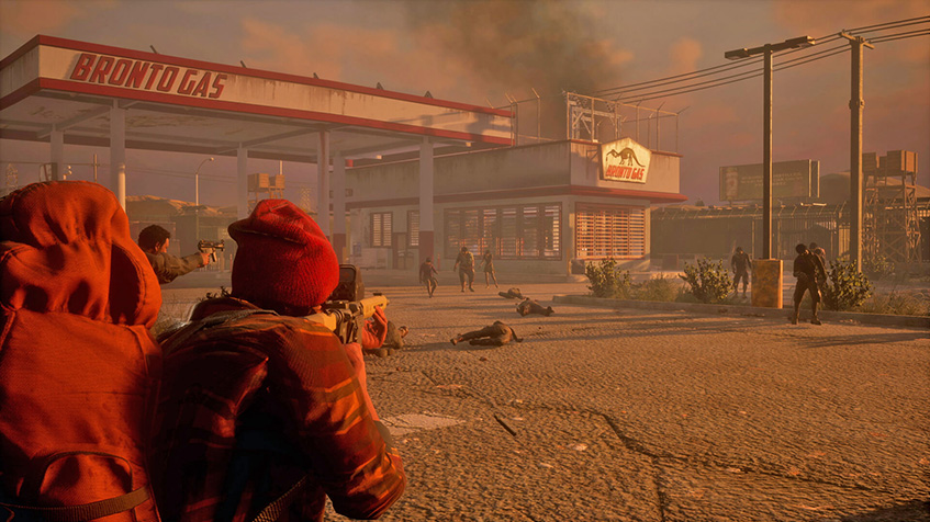 State of Decay, 2, survivor, fight, shoot, zombie, gas, station, loot, shoot