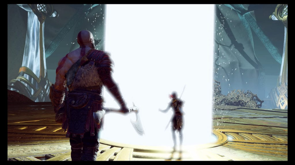 kratos and atreus in alfheim by the light