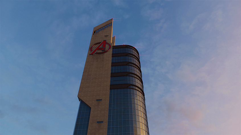 Spider-Man, Avengers, Tower, Skyscraper, Sky, Blue, White, Clouds, Window