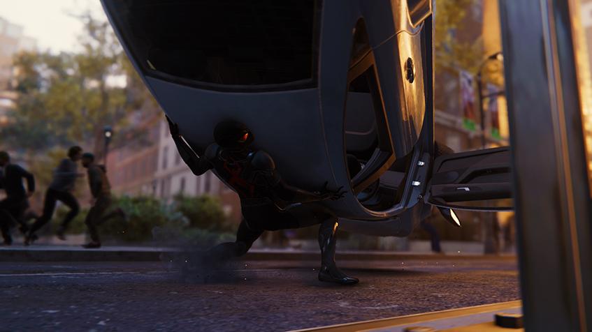 Spider-Man, Spider, Man, Car, Street, Black, Red, Catch, Hold, Door, City, Pedestrian,