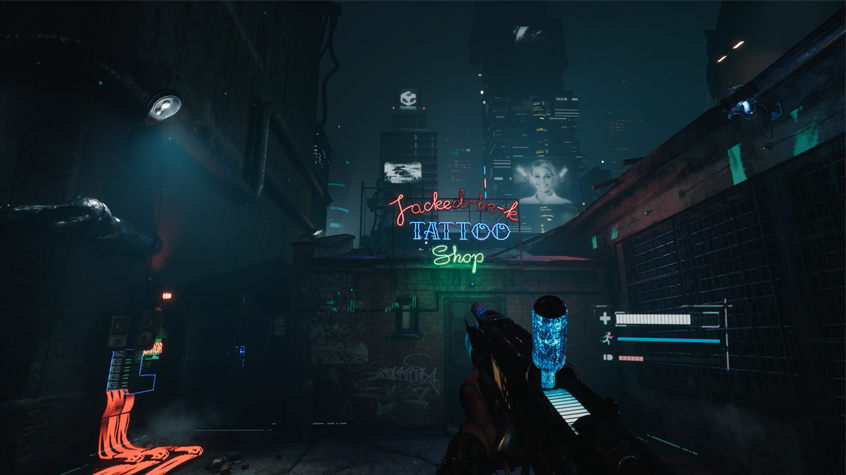 A view of 2084's Dystopian Cityscape,