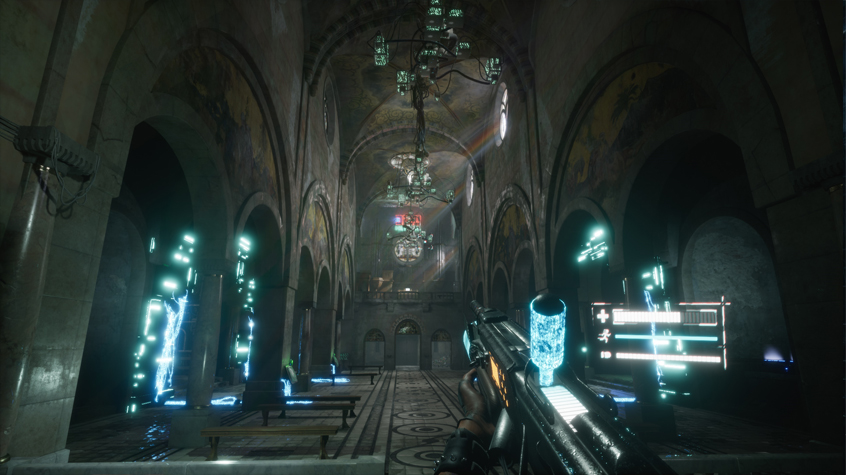 A Church location in 2084 sci-fi shooter.