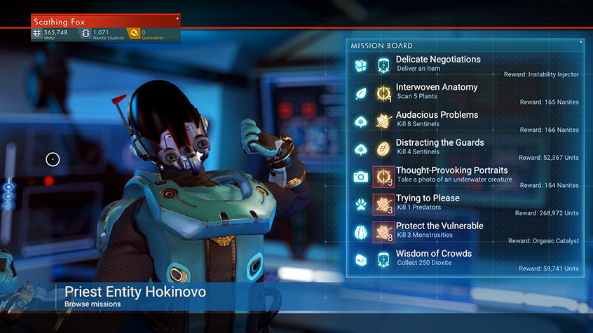 A Korvax humanoid stretches while players browse through missions in No Man's Sky