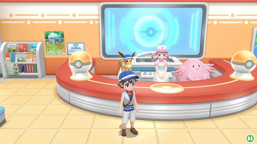 Pokemon, lets, go, eevee, pokecenter, trainer, chansey, nurse, joy, center, red, blue, pokeball