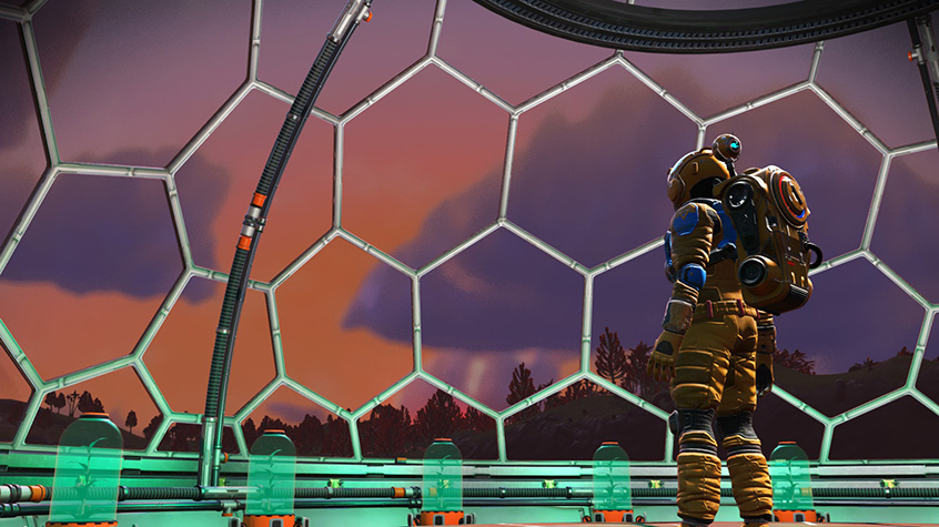 Traveller looks out from a viewing dome in No Man's Sky