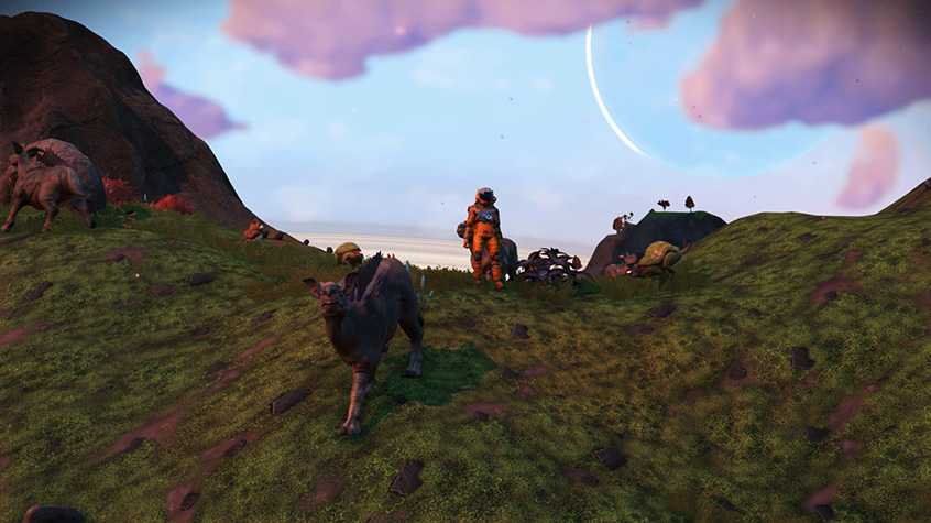 Explorer from No Man's Sky makes friends with local fauna